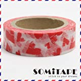 Red Love Hearts Washi Tape, Craft Decorative Tape