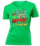Das ist Mein Hippie Kostüm 4917 Damen Karneval Faschingskostüm Fun-T-Shirts Grün S