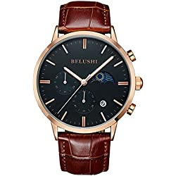 Mens Daytime And Night Display Watches Full Genuine Leather Male Waterproof Casual Dress Sport Wrist watches Black