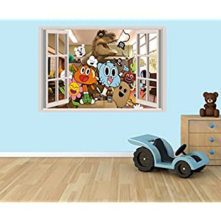 The Amazing World Of Gumball 3D effect window in wall vinyl sticker - suitable for Kids Bedroom walls, doors and glass windows. (Large 58 x 37 cm)