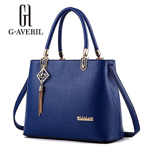 (G-AVERIL) Borsa A Spalla Donna Goffratura Geometria Borsa A Tracolla Blu scuro