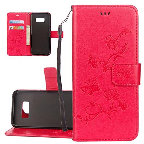 ISAKEN Funda para Samsung Galaxy S7, Cartera Fundas de PU Cuero Flip Leather Wallet Case Cover Carcasa Funda con Portátil Correa función de Soporte para Samsung Galaxy S7 (Loto Mariposas Rojo)