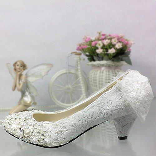 JINGXINSTORE La principessa fiore di pizzo bianco di nozze scarpe con labbra poco profonda femmina nuziale scarpe da lavoro Bianco