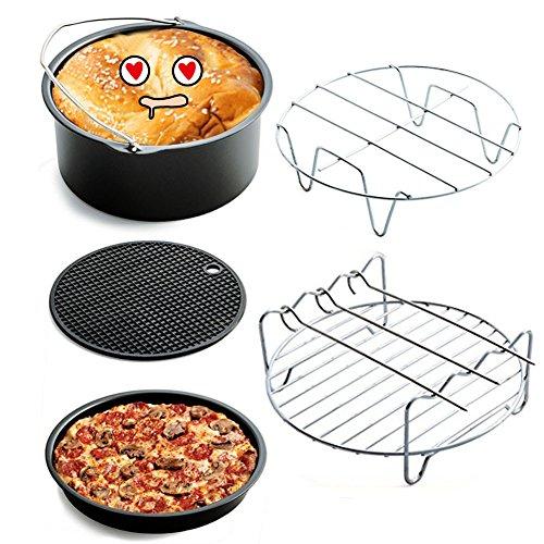 Anpi 5 pezzi accessori per friggitrice ad aria, kit da 5 accessori universali, incluso cestello torta, tegame pizza, supporto in metallo, girarrosto per spiedo, tappetino in silicone