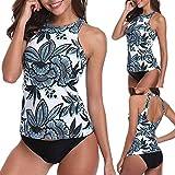 Bfmyxgs Fashion Sommermode Damen Stehkragen Halfter mit Blumenmuster Set Stilvolle Zweiteilige Plus Size Rückenfrei Sexy Bademode Beachwear Schöner Badeanzug Bikini EnergeticTankini Sets