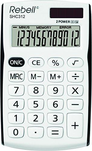 Rebell RE-SHC312 Kleiner Taschenrechner, 12 stelligem Display, weiß/schwarz