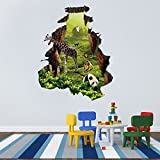 ALLDOLWEGE Einfach 3D-Simulation der Mauer Zoo Giraffe panda Wall Sticker wohn Zimmer Schlafzimmer Kinderzimmer Dekor wand Poster 65 * 81 cm