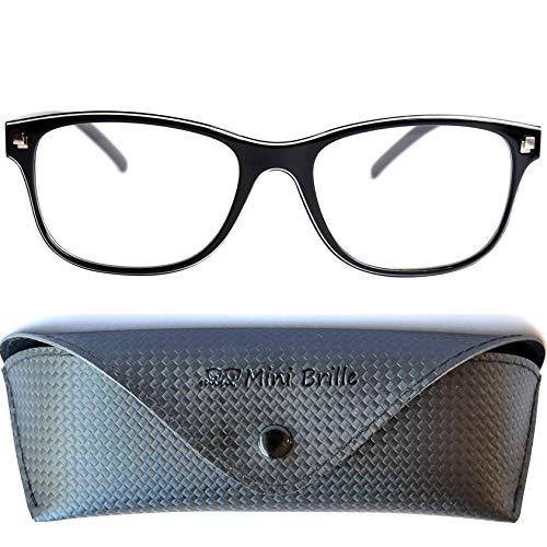 Line Nerd Lesebrille mit großen Gläsern - mit GRATIS Etui und Brillenputztuch | Kunststoff Rahmen...