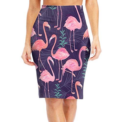 mfsore Flamingo Women's Stylish High Waist Bodycon Pencil Skirts Printed Party Skirt,2XL -