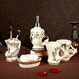 YUSHI Set da Bagno a Cinque Pezzi Portaspazzolino e Tazza per Il colluttorio Set di Lavaggio ceramico Europeo Nuovo Matrimonio