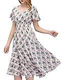 GardenWed Damen Plus Size Sommerkleider Strandkleider V-Ausschnitt Blumen Kleider Boho Maxilang Chiffon Abendkleider Pinkflow