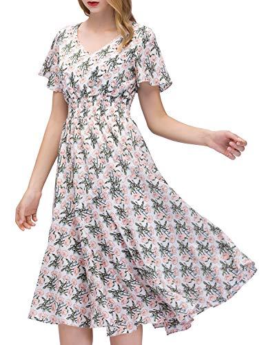 GardenWed Sommerkleider Damen Kurzarm V-Ausschnitt Blumen Strandkleider Partykleid Abendkleid...