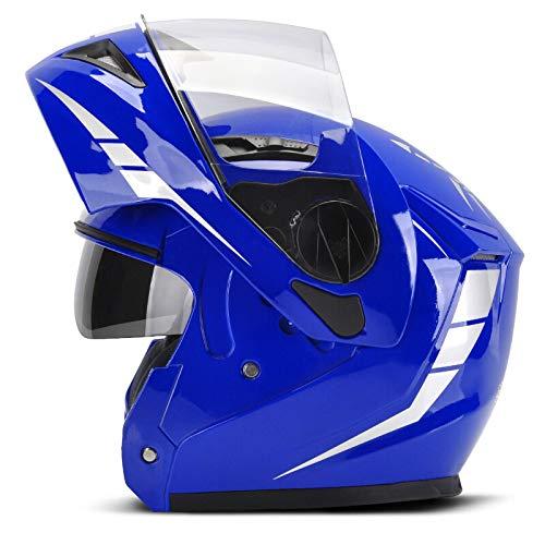 XINGWEI HELMET Motorradhelm, Modular Double Sun Visier Flip Up Front Motorradhelm,Blue