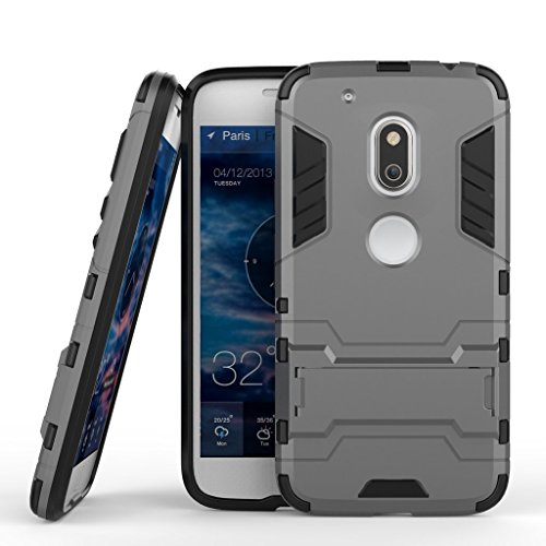 Anvika Graphic Designed Kick Stand Version 3.0 Hard Dual Rugged Armor Hybrid Bumper Back Case Cover For Moto G4 Play [G Play 4th Generation 4G] - Metal Grey