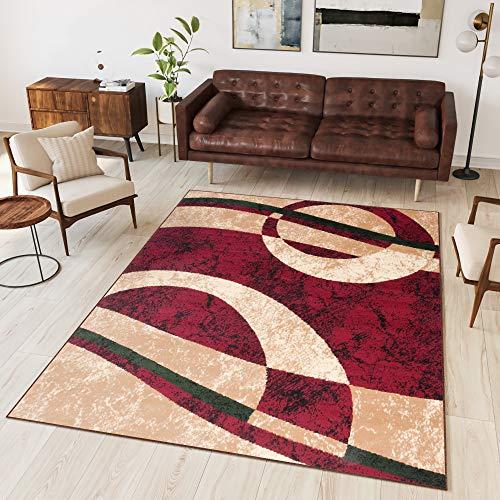 Tapiso Alfombra para Salón Moderno Piso Cuarto De Estar Colección Dream - Color Rojo Beige Diseño...
