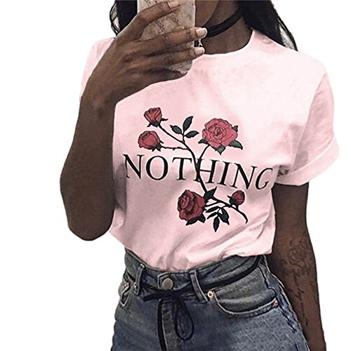 Ulanda Damen Sommer Shirt Teenager Mädchen Casual Baumwolle Bluse Loose Kurzarm Rose Druck Muster Nothing Tops Hemd Oberteile Pullover T-Shirt (Rosa, XXL)
