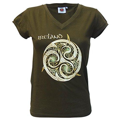Dunkelgrünes Damen-T-Shirt mit keltischem Spiralen-Design und