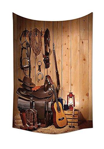 Western Decor Gobelin American TEXAS Style Country Musik Gitarre Cowboy Stiefel USA Folk Kultur Wanddekoration für Schlafzimmer Wohnzimmer Wohnheim creme und braun, mehrfarbig, 51.1W By 59L Inch -