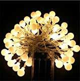 Happyit 6 meter 40-lamp battery case LED Ball String Lights for New Year Christmas Decorations Wedding Party Home Garden Decoration Lights (Warm color)