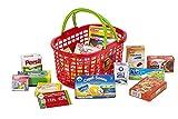 Polly Kaufmannsladen Zubehör Roter Einkaufskorb gefüllt mit Lebensmittel-Miniaturen für Den Kaufladen