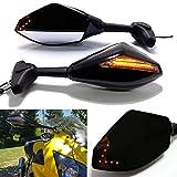 Schwarz Motorrad Blinklicht Rückspiegel mit LED Pfeil Indikator Für CBR GSXR YZF (Schwarz Glänzend + Rauchglas)