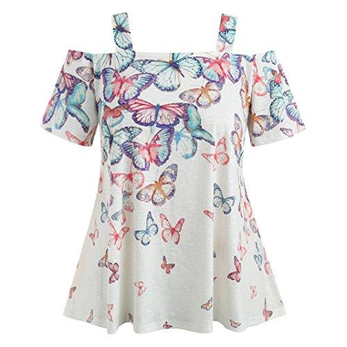 VEMOW Sommer Grace Damen Mädchen Frauen Offene Schulter Plus Size Casual Täglichen Party Schmetterling T-Shirt Tops Bluse Pullover Pulli(Weiß, EU-56/CN-4XL)