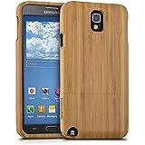 kwmobile Funda para Samsung Galaxy Note 3 Neo - Case protectora de madera bambú - Carcasa dura marrón