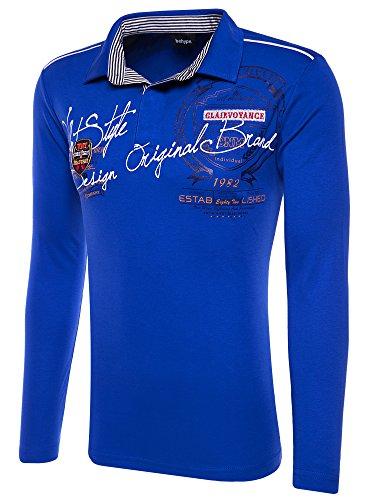 Behype Herren Poloshirt DECIDING Langarm T-Shirt 20-0682 Blau