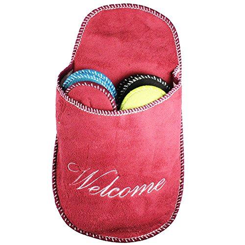 Com-Four Pantoufles Kit de 5Pièces, pantoufles invités Chaussons, dimensions: 36-45, rouge rond