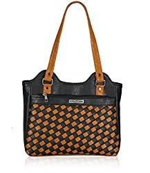 Fantosy Women's Handbag Black and Tan (FNB-571)