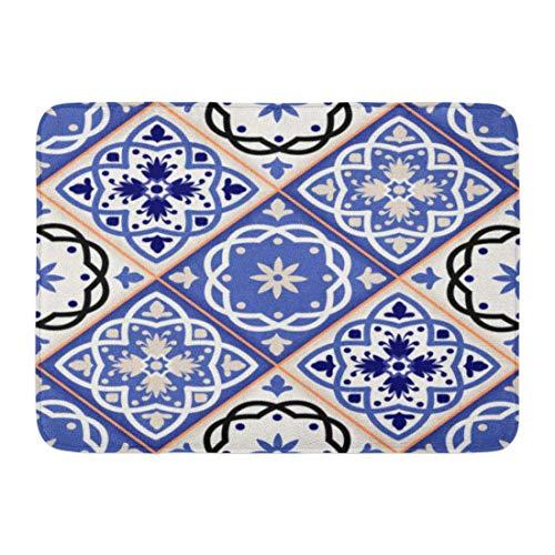 Rongpona Fußmatten Bad Teppiche Outdoor/Indoor Fußmatte Blue Indigo wunderschöne Patchwork-Muster aus bunten marokkanischen Fliesen Ornamente füllt spanischen Badezimmer Dekor Teppich Badematte (Badematte Marokkanischen)