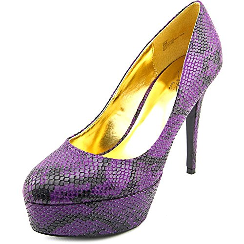 Thalia Sodi Isabel Toile Talons Compensés Purple Snake
