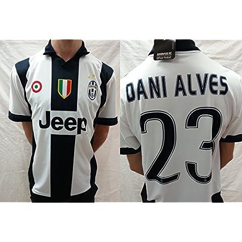 Camiseta de Fútbol Juventus Dani Alves 23 Replica 2016-2017 Oficial, BIANCO-NERO