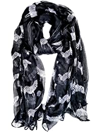 S96 - Celebrity Black Zebra Print Scarf Shawl. Large enough to be used as a summer sarong