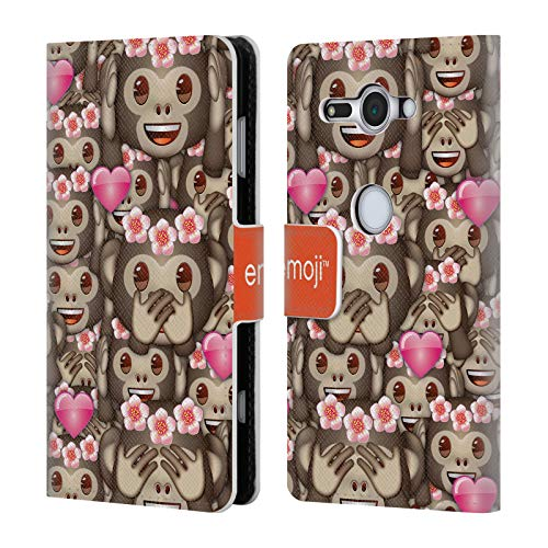 Head Case Designs Offizielle Emoji® AFFE Full Patterns Brieftasche Handyhülle aus Leder für Sony Xperia XZ2 Compact Pattern Design Case