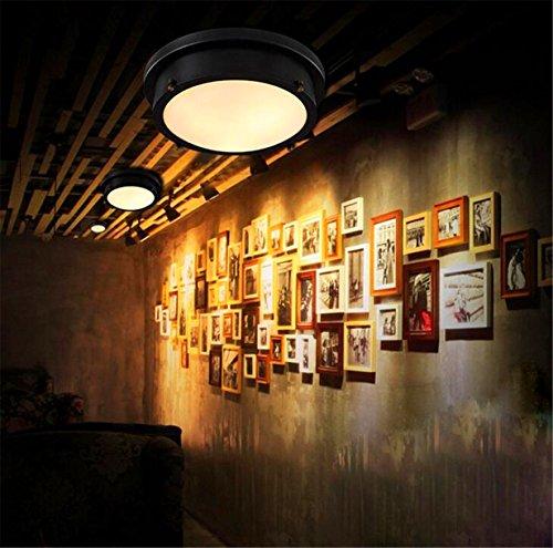 Industrielampe industrie lampen vintage runde schwarz led for Deckenleuchte led balken