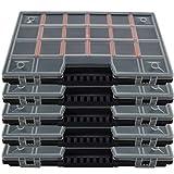 Sortimentskasten [ 5er Set ] Sortierbox Sortimentskoffer Organisationbox mit Deckel - Kleinteilemagazin mit individuell einteilbare Fächer- bis zu 20 Fächer - für Schrauben , Schmuck , Angler , Perlen - 285 x 190 x 35 mm