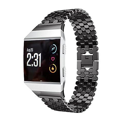 Bande pour Fitbit Ionic, Gaddrt solide en acier inoxydable accessoire montre bracelet en métal (Noir)