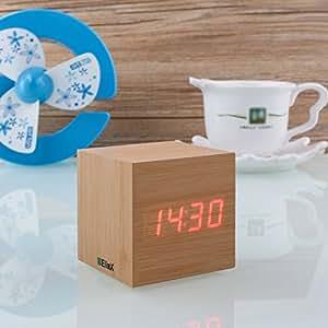 Innoo Tech Réveil Matin Horloge en Bois Digital LED rouge Pendule montre