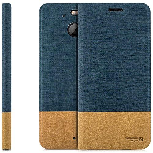 zanasta Designs Tasche HTC 10 Evo Hülle Flip Case Slim Schutzhülle Handytasche mit Kartenfach, Standfunktion | Blau