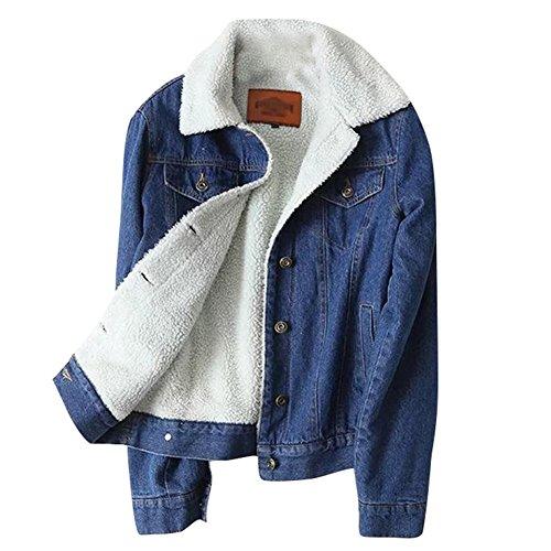 iBaste Jeansjacke Damen mit Fell Denim Jacket Trucker Jacke für damen Mantel Übergangsjacke Outwear-S
