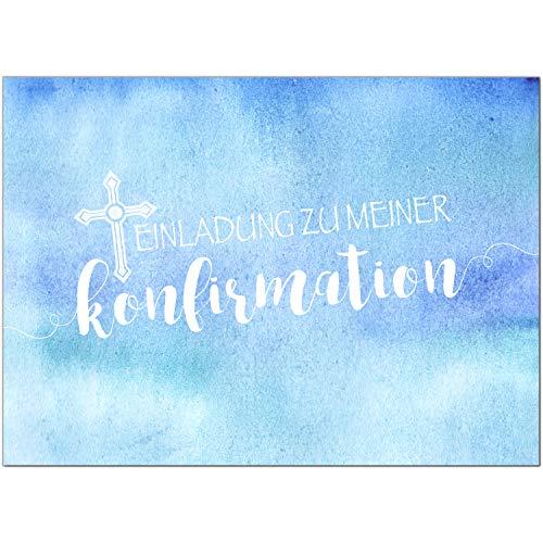 15 x Einladungskarten Konfirmation mit Umschlag/Einladung zu meiner Konfirmation blau/Konfirmationskarten/Einladungen zur Feier