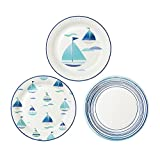Talking Tables Coastal Paper Plates with Boat Motif in 3 Designs for a Barbeque, Beach or Summer Party, Blue, 23cm (12 Pack in 3 designs)
