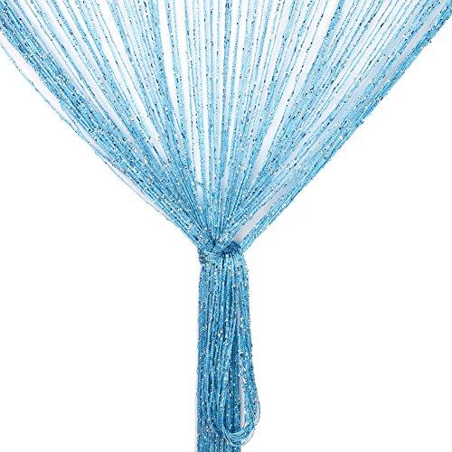 Fadenvorhang, Fadenvorhang Glitzer weiss 100 x 200 cm Wandvorhang Schaufensterdekoration, Dekorative Gardine Raumteiler Fliegenschutz für Hochzeit, Café, Restaurant (Blau)