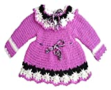 #8: PMG Baby girl's Woolen Sweater Frock for 6-12 months baby girls color Purple,white and black