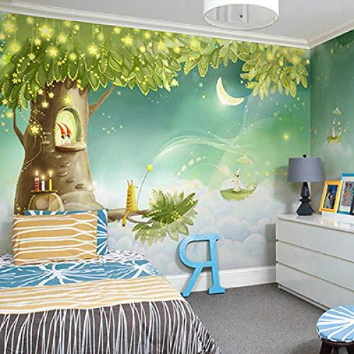 Grüner Wald Cartoon Pilzzimmer Mond Giraffe Große Wandbilder 3D Wallpaper Für Kinderzimmer Kinder Schlafzimmer Wanddekorwand Tier @ 430 * 300 Cm -