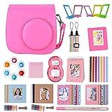 Goocor 15 en 1 Instax Mini 9 Accesorios de cámara para Fujifilm Instax Mini 9/Mini 8/Mini 8+ cámara,Incluye Funda Mini 9,álbumes,Seis filtros de Color,Lente Selfie,Pluma ETC (Flamingo Pink)
