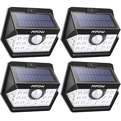 Mpow 20 LED Solarlampen für Außen, Solarleuchte mit Bewegungsmelder Solarlicht 120 ° Weitwinkel Solarlampe Solar Sicherheitswandleuchte Wasserdicht für Garten, Garage, Auffahrt, Hof, Balkon, Pfad