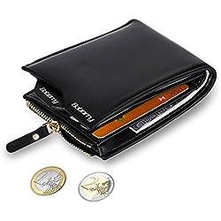 MPTECK @ Negro Cartera Bloqueo RFID para hombre Estilo plegable Monedero Billetera de PU Cuero con Bolsillo para monedas y Crédito Tarjetas Ranuras Portatarjetas extraíble