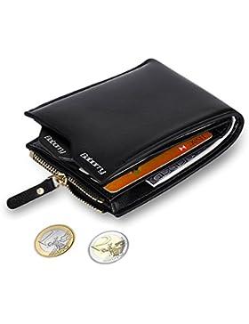 MPTECK @ Negro Cartera Bloqueo RFID para hombre Estilo plegable Monedero Billetera de PU Cuero con Bolsillo para...